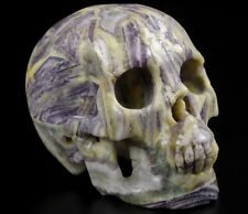 "Gemstone 4.0"" BAMBOO LEAVES AGATE-PURPLE Carved Crystal Skull, Healing"