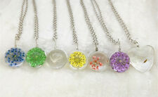 Fashion Transparent Crystal Ball Glass Dried Flower Necklace Pendant Jewelry mix