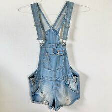 Vintage L.e.i. Overalls Jean Shorts Distressed Junior's Medium
