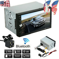 "7"" HD Touch Screen Double 2 DIN Car GPS Stereo VCD Player Bluetooth Radio Camera"