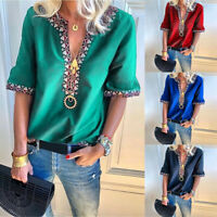 Women V Neck Short Sleeve Blouse T Shirt Summer Loose Boho Peasant Tops Shirts