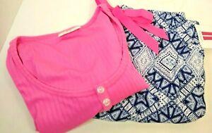 Ladies  Pajamas 2 piece Pink Tank top  & Print Pants  New  Small