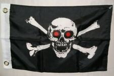 12x18 Pirate Red Eyes Jolly Roger Flag Skull and Crossbones Boat Flag New