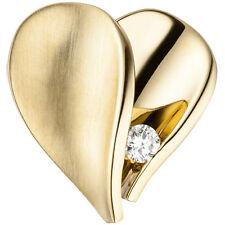 Damen Anhänger Herz 585 Gold Gelbgold teilmatt 1 Diamant Brillant Herzanhänger