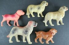 VINTAGE CELLULOID TOY DOGS ANIMAL CHRISTMAS FIGURES (LOT OF 5)