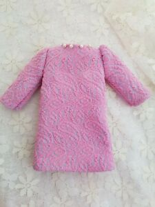 Vintage - Dolls' Clothes 1960s Style Pink Swirl Short Dress measures 14cms long