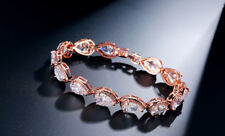 "14k Rose Gold GF Tennis Bracelet made w Swarovski Crystal Bling Clear Stone 7""+1"