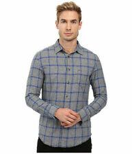 NWT DIESEL Mens S -Tas Gray Sea/Blue Plaid Button Down Long Sleeve Shirt Large