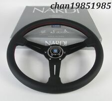"""Nardi Steering Wheel Classic 350mm 14"""" Black Perforated Leather (Red Stitch)"""