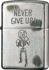 New ZIPPO Lighter NEVER GIVE UP Skelton Boxer USED Finish Oil Lighter 2UDS-GIVEU