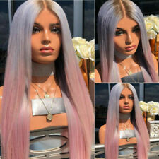 Women Ombre Long Straight Wigs Brown Blue Purple Pink Mix Full Hair Anime Party