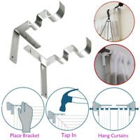 1 Pair Hang Curtain Rod Holders Tap Right Into Window Frame Curtain Rod Bracket