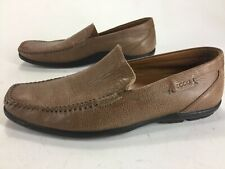 Mens Ecco Brown Leather Latex Sole Slip On Loafers Shoes Size 12