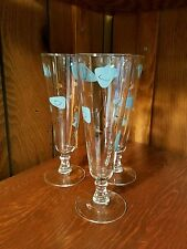 Mid century MCM Tuquoise Gold Pilsner Wine Glass lot of 3