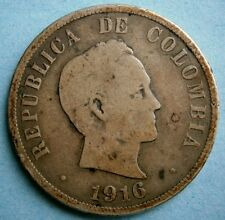 Colombia 1916 Cincuenta Centavos (50 Cent) Silver Coin