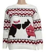Festive Knitwear FREE DELIVERY 3D Adorable Dog Pom Pom Christmas Jumper