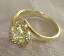 14k ct Yellow Gold Filled Luxury Fashion Women's Ring Zircon Stone - Size 8