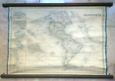 AMERICA by DUFOUR 1841 LARGE ANTIQUE ENGRAVED WALL MAP ON LINEN 19th CENTURY
