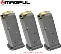 THREE MAGPUL 10 GL9 FOR GLOCK 17 9mm 10 Round MAGAZINES 801 BLK *FAST SHIP*!!