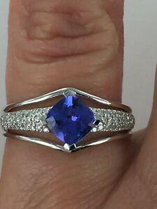 18kt Gold 1.37 CTW AAA Tanzanite & Diamond Ring Size 7.75 $1999 Retail