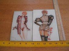 Olivia De Berardinis lot of 2 glass trivets coasters 1984 art felt bottom