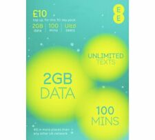 EE Sim Card Pay As You Go £10 Pack 2GB Data Unlmtd SMS Mini Micro & Nano UK 5GEE