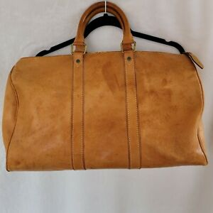 Vintage Ralph Lauren Duffle Bag All Leather w/ luggage tag *read