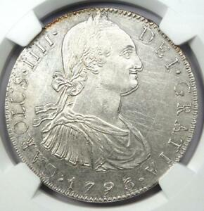 1793-MO FM Mexico Charles IV 8 Reales Coin 8R. NGC Uncirculated Detail (UNC MS)