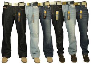 New Mens Denim Jeans Bootcut & Straight Leg Style Simple Pants Black Blue 30-42