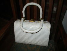 Vintage 50-60s white woven wicker purse box rockabilly hand bag Hong Kong
