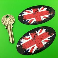 """UNION JACK Distressed Urban Style car stickers 3"""" 75mm pair Great Britain"""