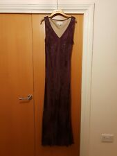 Phase Eight Purple Long Dress Evening Size 16 V Neck Sequin Floral Beaded Xmas