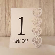 White Wedding Table Numbers, 1-15, Laser Heart Design, Standalone NEW