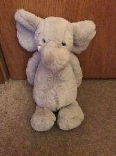 Jellycat Grey Gray White Elephant Plush Stuffed Animal Tusks Soft Furry Euc