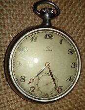 OMEGA vintage metal  men's pocket watch, open face, perfect condition