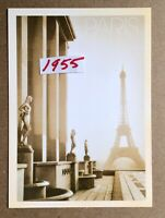 Eiffel Tower View From Building Clouds Paris France Reproduction Postcard