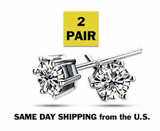 Made with Swarovski Zirconia 2.00 cttw Sterling Silver 925 Round Stud Earrings