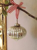 Silver Mercury Glass Onion Bauble, Christmas Tree Decoration Vintage Shabby Chic