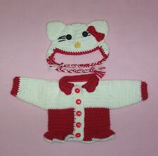 """American Girl Doll Crochet Red Hello Kitty Sweater & Hat Fits American Girl 18"""""""