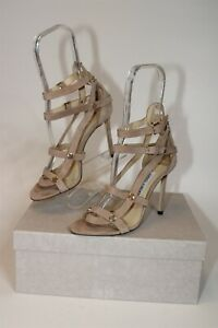 Jimmy Choo London Womens 7.5 37.5 Motoko Nude Suede Buckle Stiletto Italy Shoes