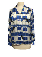 Stuart Lang Women Sheer Blouse Long Sleeve Blue White Brush Stroke Pattern Sz 8