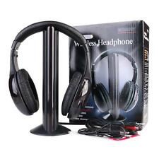 5 In 1 Wireless Cordless FM RF Headphones Headset with Mic for PC TV Radio
