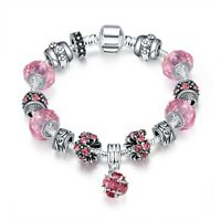 "Pink Crystal Heart Charm Bracelet for Women Stainless Steel Gift 7""-8"" Ct 0.76"