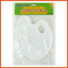 12 X Reno Art Oval Plastic Paint Palette 23x17cm | White Artist Pallette 6-well