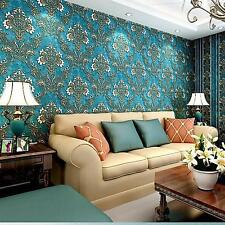 0.53M x 10M Damask Retro Vintage 3D Textured Feature Art Wall Paper Wallpaper