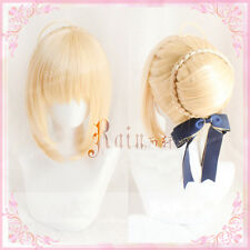 Fate/Zero Arturia Pendragon Saber Soft Blonde Cosplay Wig (Not Include Bowknot)
