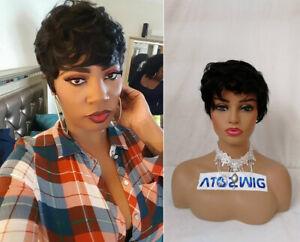 "8"" Brazilian Human Hair Short Afro Curly Black Pixie Cut Wigs No-Lace for Women"