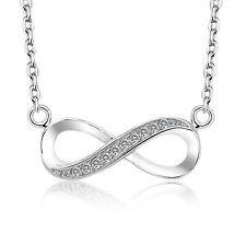 925 Silver CZ Infiniti Necklace Couple Gifts For Women Silver Necklaces Pendant