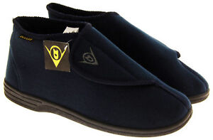 Mens DUNLOP Navy Blue Orthopaedic Adjustable Boot Slippers Size 8 9 10 11 12