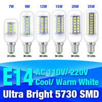 Ultra Bright E14 7-25W 5730 SMD LED Corn Bulb Lamp Cool/Warm Light AC 110V/220V